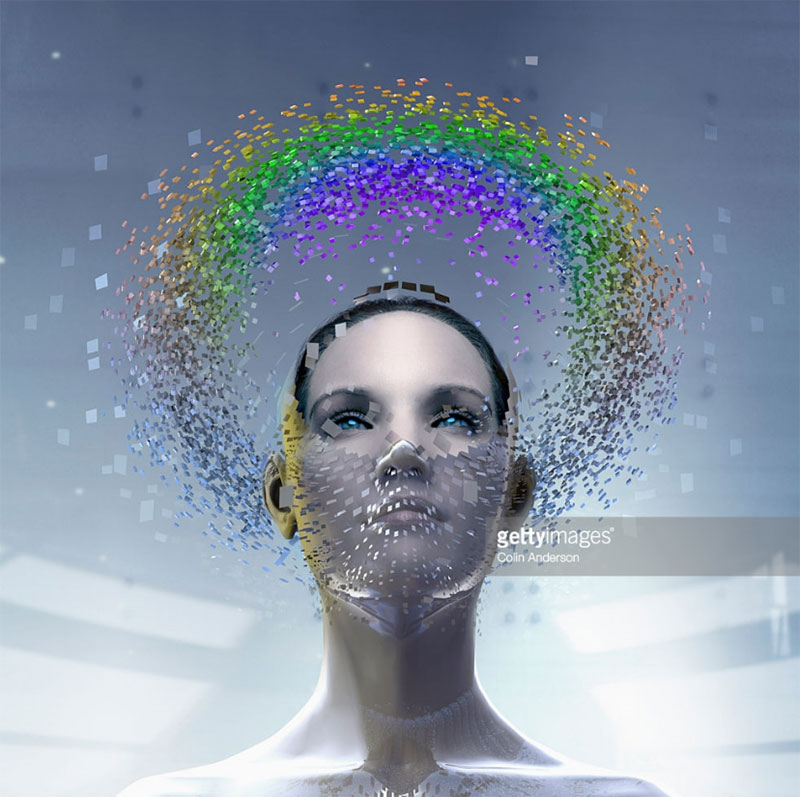 Woman wearing artificial intelligence mask. Photo Credit: Colin Anderson - 543194867. Gettyimages.com/Alwaysuttori.com