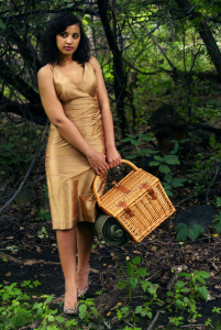 Always Uttori Old Hollywood glamping fashion look, gold Lafayette 148 dress, Jessica Simpson Cheetah print heels
