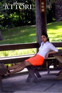 coral skirt, fashion shot