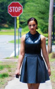 Black, leather top dress
