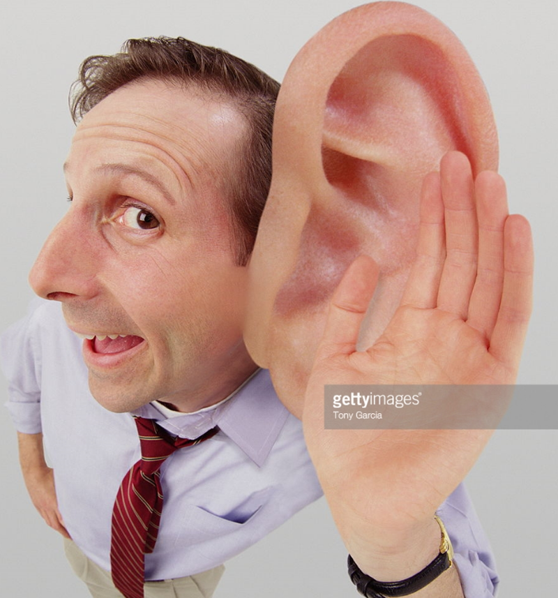 Photo Credit: Tony Garcia, Gettyimages.com, listening man with giant ear.