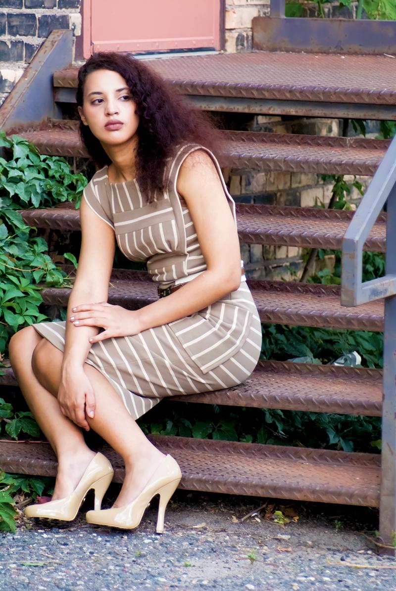 Striped, tan dress
