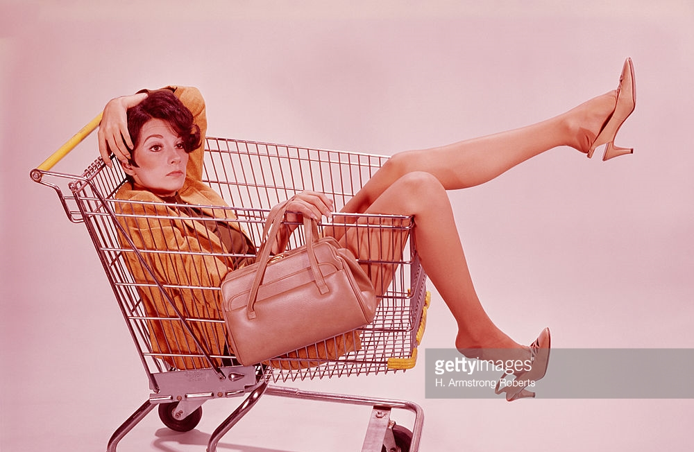 Woman in shopping cart