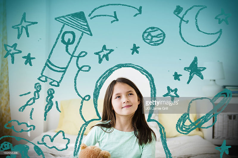 A girl with a teddy bear thinking