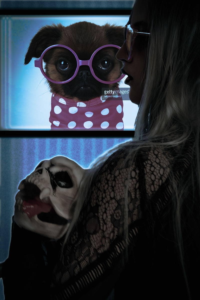 An Educated Dawg. Photo Credit: Mechelle Avey. Pastel Goth Morticia and Pallicanis. Alwaysuttori.com