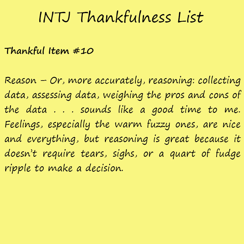 Introvert Life: The Thankful INTJ. Thankful -10