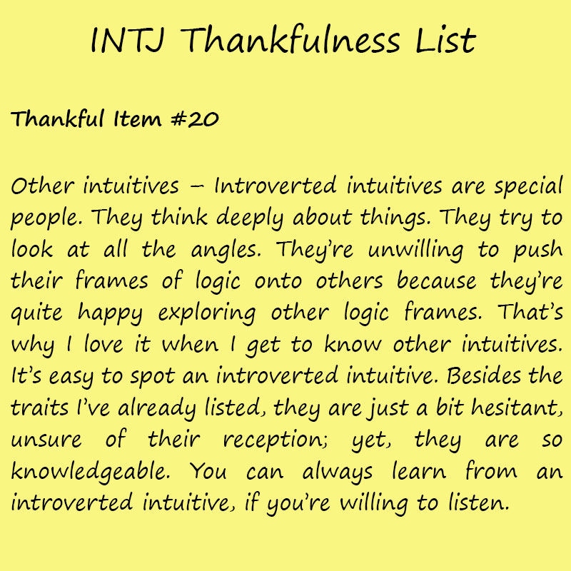 Introvert Life: The Thankful INTJ. Thankful -20