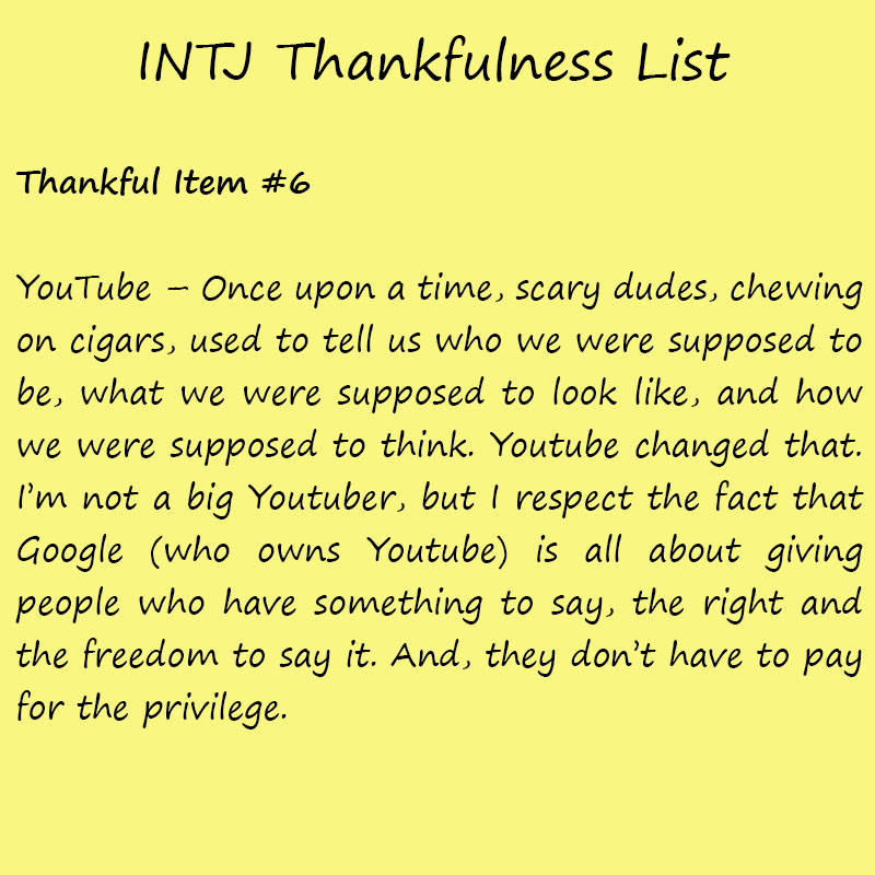 Introvert Life: The Thankful INTJ. Thankful-6