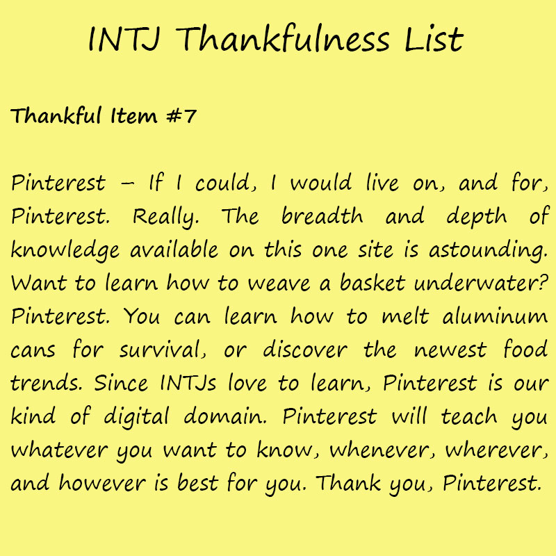 Introvert Life: The Thankful INTJ. Thankful -7