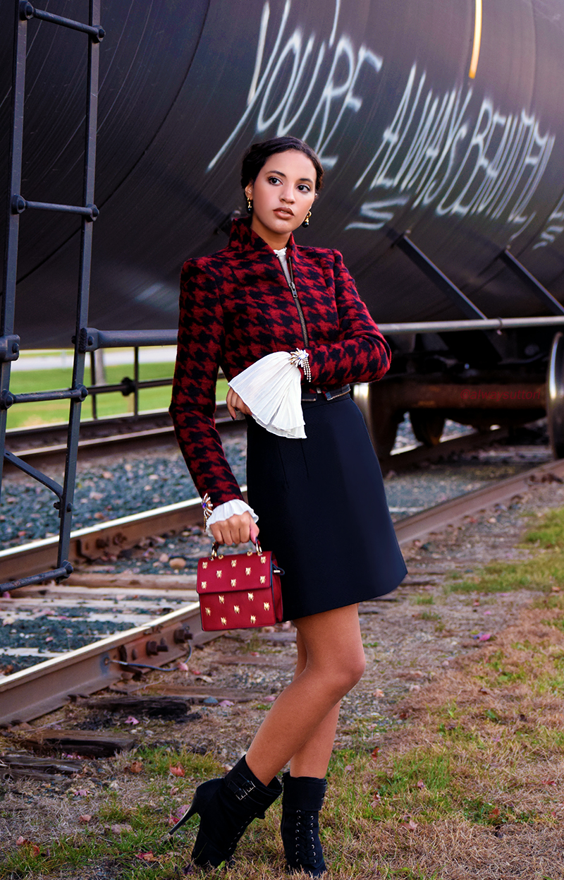 Introvert Life - Christmas Fashion Look 1, Photo 2. INTJ Fashion Blogger I'mari Avey. Photo Credit: Mechelle Avey. Published in Alwaysuttori.com
