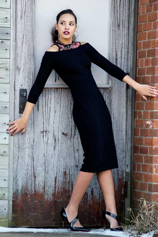I'mari Avey, Fashion Blogger, Spring Fashion Transition Look 1, photo 3. Photo Credit: Mechelle Avey.Spring Fashion Transition: Bella Rosa. Alwaysuttori.com