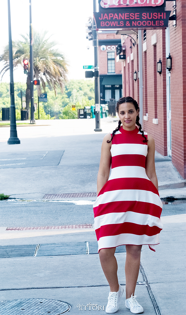 Gracia Striped Dress, Look 1, P1. Photo Credit: Mechelle Avey. Red White and Fresh Look 1. Alwaysuttori.com