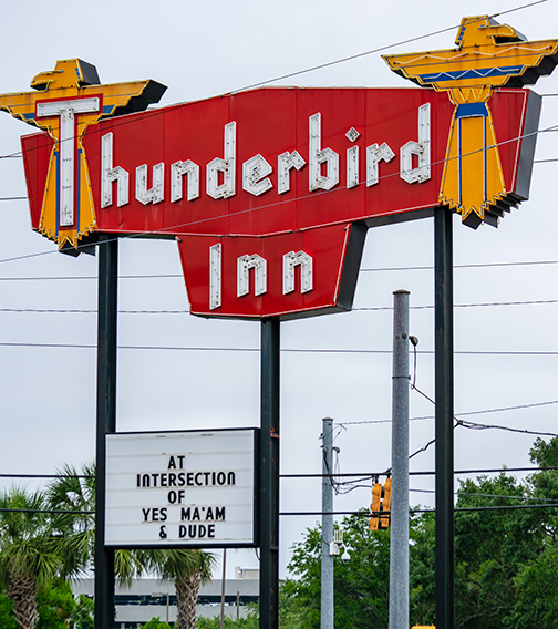 Thunderbird Motel Sign, Savannah, Ga. Photo Credit: Always Uttori. Midnight Train: Journey to Self. Alwaysuttori.com