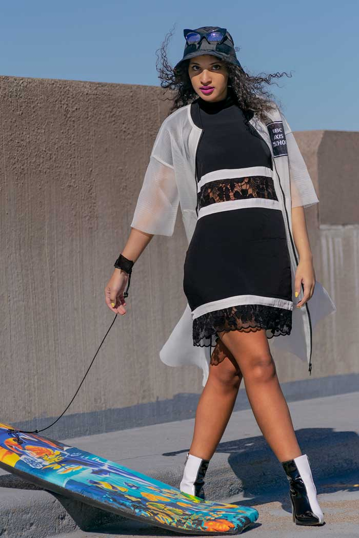 Always Uttori 2019 Tar Beach Summer Fashion. Black lace cut out dress.